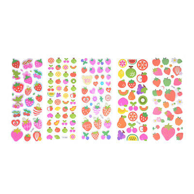 5 Sheets Cute Cartoon Fruits Scrapbooking Bubble Puffy Stickers Reward Kids-ODCA
