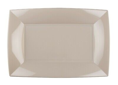 Reusable Plastic Catering Tableware Party Wedding Rectangular Plate Taupe 12 Pc