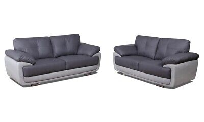 Grey Sofas Faux leather, 3+2s Two Tone Grey with Chrome Legs - FREE DELIVERY