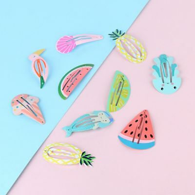 6Pcs/set Sweet Fruit Hairpin BB Clip Girls Mermaid Rainbow Barrettes Hair Clips