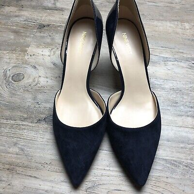 cf7cc65a9a Nine West Navy Blue Womens D'orsay Heels Size 10 Pointed Toe Patent Leather