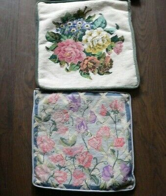 2 Vintage Completed  Hand Worked Tapestry Cushion Covers - Ehrman?