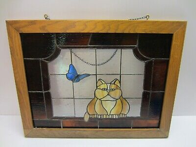 Vtg Large Lead Stained Glass Window Wall Hanging Sun Catcher Cat Butterfly Cute