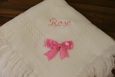 Baby shawl blanket  plain or embroidered personalised TEDDY BEAR font design