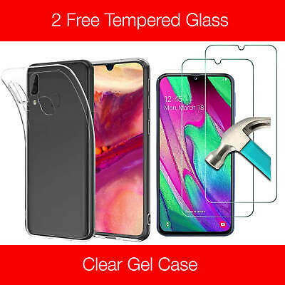 Samsung Galaxy A40 A50 Clear Gel Case Tempered Glass Screen Protector TPU Cover