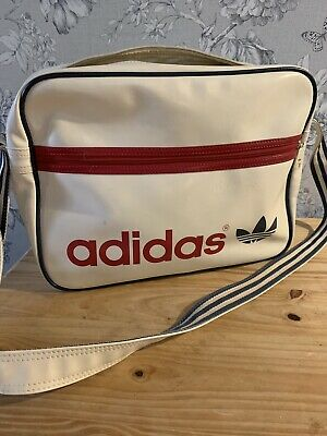5bd501ab5e7d8 adidas Originals Vintage Airliner Bag White Vinyl Three Stripes Strap