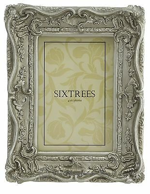 Sixtrees Chelsea Shabby Chic Vintage Ornate Antique Silver Photo 6x4 inch frame