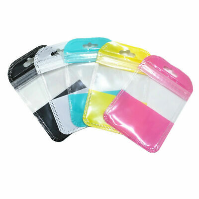 Plastic Seal Bags Resealable Poly Clear Zip Lock Pouch Hang Teal 7x11cm Teal