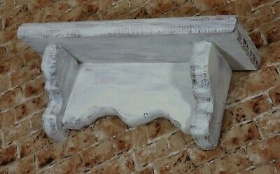 Vintage Handcrafted Distressed Shabby Rustic Farmhouse White Wood Wall Shelf