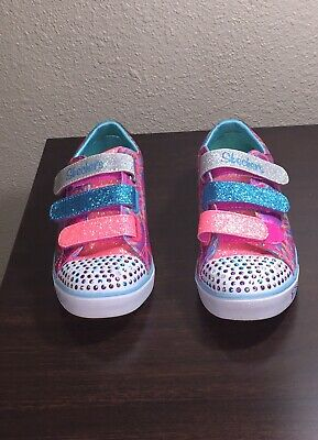 Girls' Shoes Kids Skechers S Lights Sparkle Glitz Denim Daisy Girls Trainers Sz Size