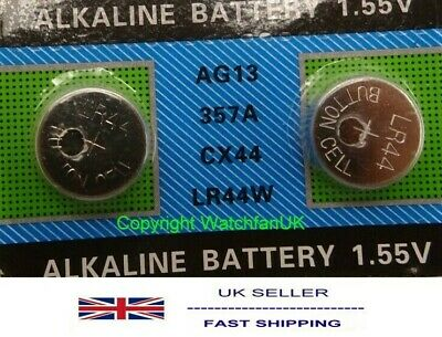 2 x AG13 357A CX44 LR44W Cell Alkaline Battery 1.55V Calipers battery