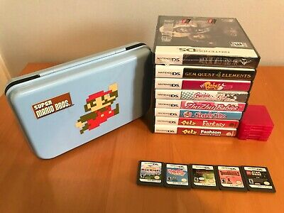 Nintendo DS 13 Game Lot with MARIO BROS. GAME VAULT CASE