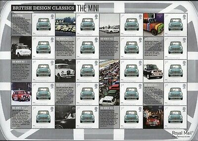 "2009 ""Classic Design - The Mini"": Royal Mail Generic Smiler Sheet MNH"
