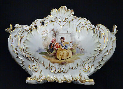 Antique Dresden Center Piece Bowl Rococo Style Hand Painted