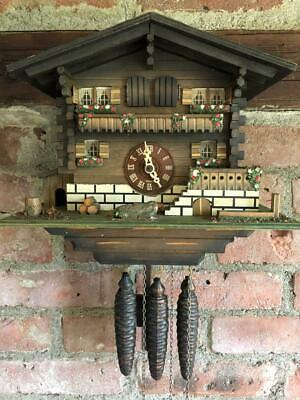 Working Vintage Black Forest Chalet Style Musical Cuckoo Clock