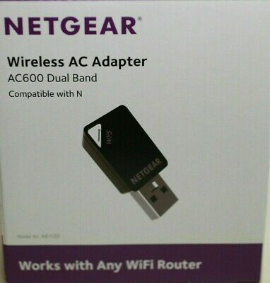 Dual Band 5Ghz 2.4 GHz-NETGEAR AC600 A6100 Wireless N AC USB Network Adapter