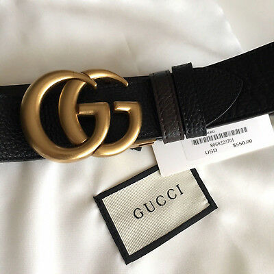 9cb77a1cd Auth Gucci Reversible Belt BLACK BROWN GG Gold Buckle size 90 / 36 fits 30-
