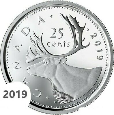 CANADA 2019 New 25 cents ORIGINAL CARIBOU Circulation coin (UNC From mint roll)
