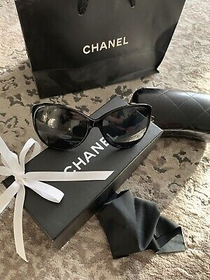 161a67b0f5f4 CHANEL SUNGLASSES, CAT Eye, Polarized Black NEW. $550 RRP!! - $76.64 ...