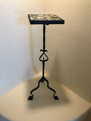 Antique Arts & Crafts Mission Iron Plant / Lamp Stand Table Hand Painted Tile