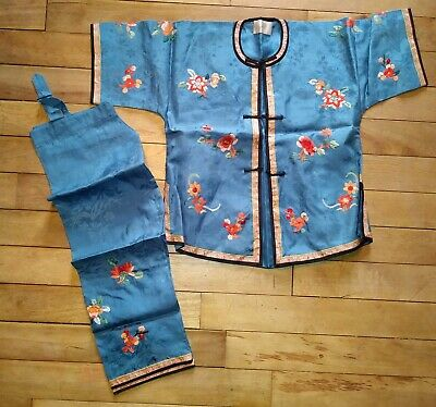 Chinese Floral Embroidered Silk Pajamas, Child's Size