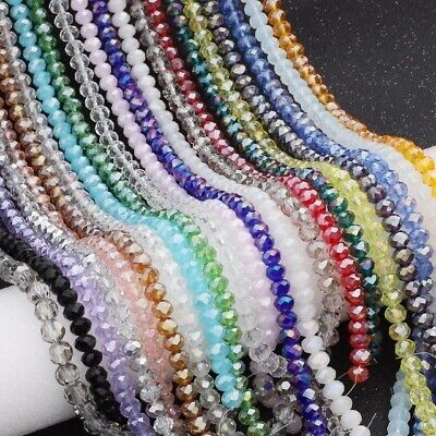 Wholesale 4*6/6*8mm Faced Rondelle Crystal Glass Loose Spacer Beads Jewelry Lot