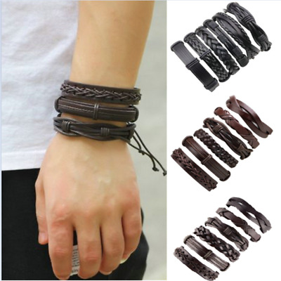 6PCS/Set Mens Punk Leather Wrap Braided Wristband Cuff Punk Bracelet Bangle