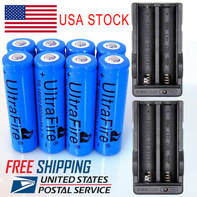 18650 Battery 3.7V 6000mAh Li-ion Rechargeable Batteries for LED Flashlight Lot