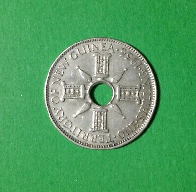 1936 New Guinea (1/-) One Shilling Sterling Silver Coin in Archive Holder