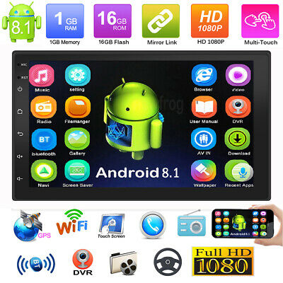 Double 2Din 7in Android 8.1 GPS Navi WiFi Car Stereo Video MP5 Plaver Quad Core