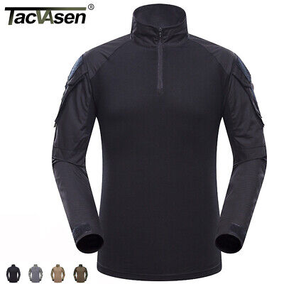 Mens Tactical Military Army Shirt Paintball Combat Shirts Workout T-shirt Tops