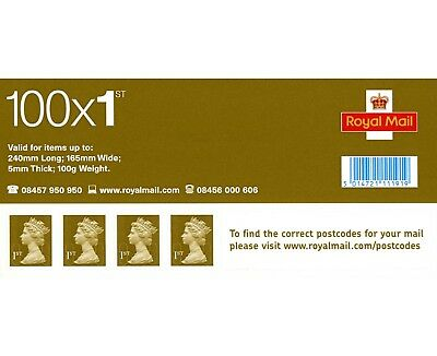 100X Gold Royal Mail 1St Class Stamps, New Unused Self Adhesive Sleeve - Rrp £70