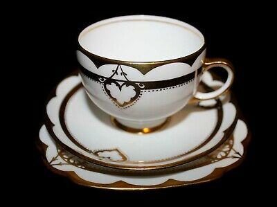 Royal Albert Crown China Cup / Saucer / dessert plate Trios Gold & White 7325
