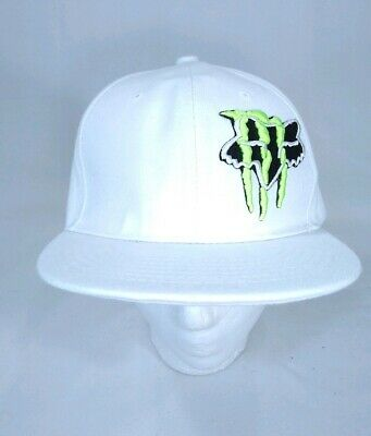 46a1ae9bf MONSTER ENERGY FOX Racing White Hat Fitted Size 8 Baseball Cap Motocross