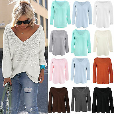Womens V Neck Long Sleeve Knitted Sweater Loose Pullover Jumper Tops T Shirt