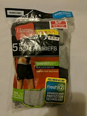 Hanes Men's Boxer Briefs 4-Pack with Comfort Flex Waistband Stretch Black Grey.