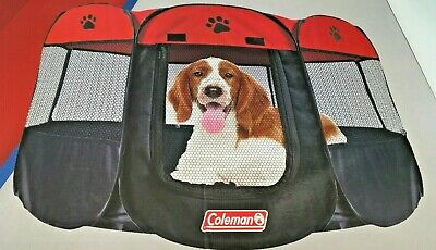 Coleman Playpen 8 Panel Red/black Portable 36 Inch X 36 Inch X 23 Inch