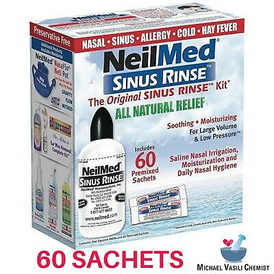 New Neilmed Sinus Rinse Kit 60 Premixed Sachets Saline Nasal Irrigation *MVC*