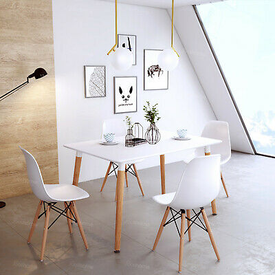 Retro Dining Table And Chairs Set 4 Or 6 Wooden Legs Eiffel
