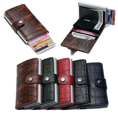 Auto Pop Up PU Leather Cowhide Credit Card Holder RFID Blocking Wallet Purse