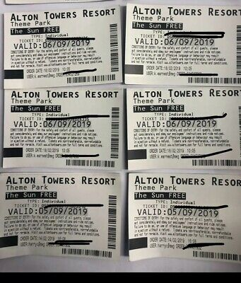 ALTON TOWERS TICKETS - 6/9/19.(4 Tickets). 5/9/19(2 Tickets)