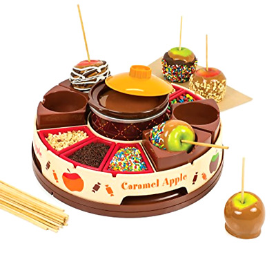 Nostalgia CCA5 Lazy Susan Chocolate & Caramel Apple Party with Heated Fondue Po