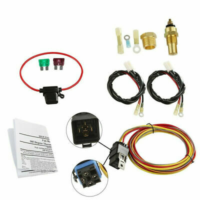 dual electric cooling fan wiring install kit 165 185 thermostat 50 185 165 dual electric cooling fan wiring harness install thermostat 40amp relay