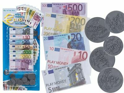 Childrens Kids Play Fake Pretend Money Role Shops Cash Euro Notes Coins Toy