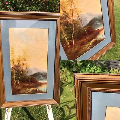 VERY OLD Picture Painting Landscape Oil  LARGE
