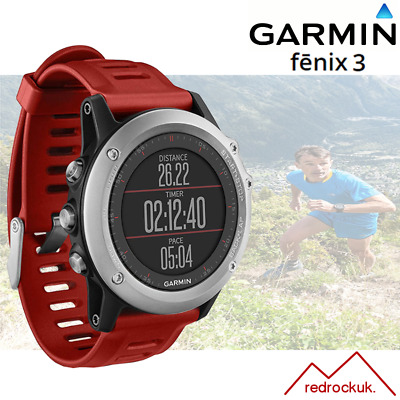 Garmin Fenix 3 Multisport GPS Sports Watch with Outdoor Navigation - Red/ Silver