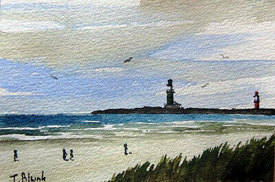 ORIGINAL AQUARELL - Am Strand von Warnemünde.
