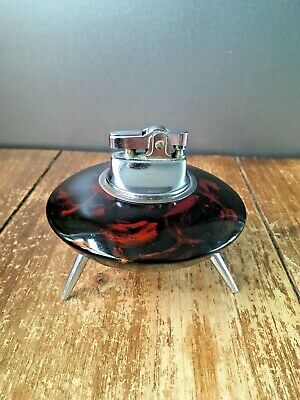 Space Age Bakelite & Chrome Ufo Table Lighter Mid Century Modern 60'S 70'S Retro