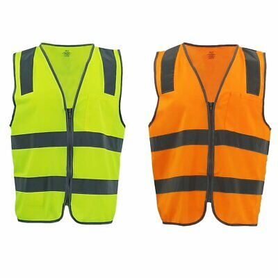 Hi Vis Safety Zip Vest w Refelective Tape Pocket Night Cool Dry Workwear Jacket