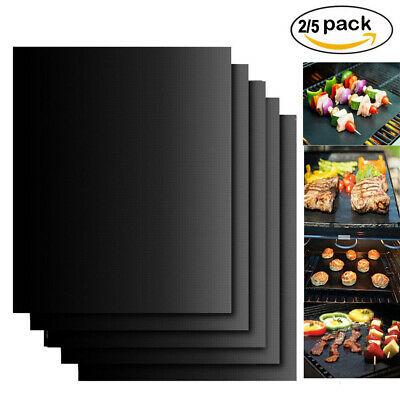 2/5x BBQ GRILL MAT SHEETS NON STICK OVEN LINERS REUSEABLE BLACK GAS BAKING TRAY
